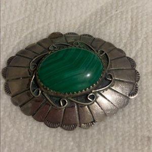 Sterling s malachite stone Navajo vintage brooch